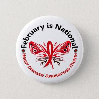 Heart Disease Awareness Month Butterfly 3.3 Pinback Button