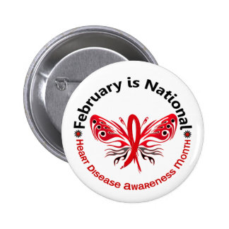 Heart Disease Awareness Month Butterfly 3.3 Pinback Button
