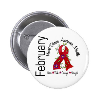 Heart Disease Awareness Month Flower Ribbon 1 2 Inch Round Button