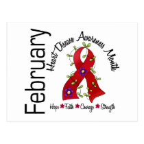 Heart Disease Awareness Month Flower Ribbon 1 Postcard