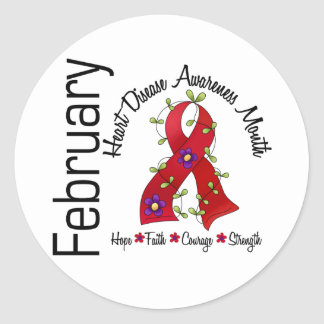 Heart Disease Awareness Month Flower Ribbon 1 Classic Round Sticker