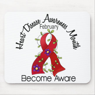 Heart Disease Awareness Month Flower Ribbon 2 Mouse Pad