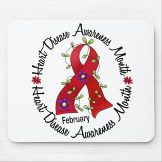 Heart Disease Awareness Month Flower Ribbon 3 Mouse Pad