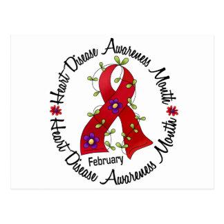 Heart Disease Awareness Month Flower Ribbon 3 Postcard