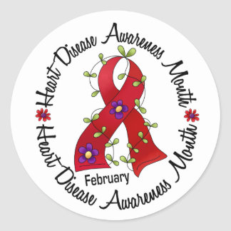 Heart Disease Awareness Month Flower Ribbon 3 Classic Round Sticker