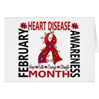 Heart Disease Awareness Month Flower Ribbon 4 Greeting Card