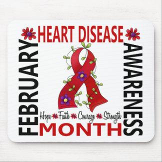 Heart Disease Awareness Month Flower Ribbon 4 Mousepad