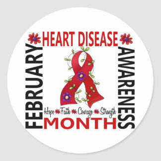 Heart Disease Awareness Month Flower Ribbon 4 Classic Round Sticker