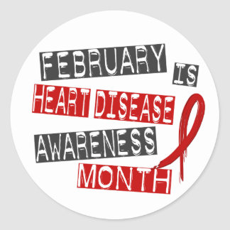 Heart Disease Awareness Month L1 Classic Round Sticker