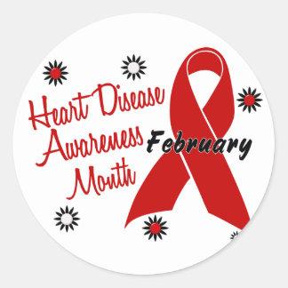 Heart Disease Awareness Month Ribbon 1.1 Classic Round Sticker