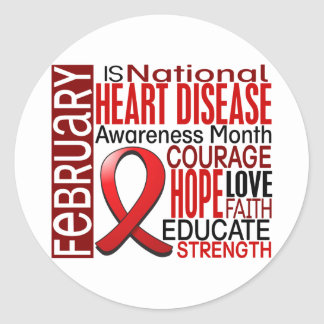 Heart Disease Awareness Month Ribbon I2.3 Classic Round Sticker