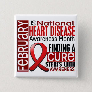 Heart Disease Awareness Month Ribbon I2.5 Pinback Button
