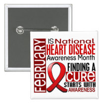 Heart Disease Awareness Month Ribbon I2.5 Pinback Button