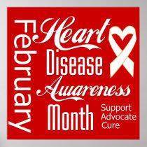 Heart Disease Awareness Month Ribbon Poster