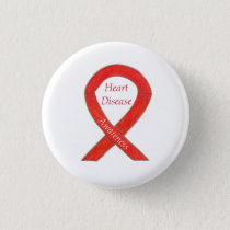 Heart Disease Awareness Red Custom Ribbon Pin