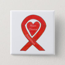 Heart Disease Awareness Red Heart Ribbon Pin