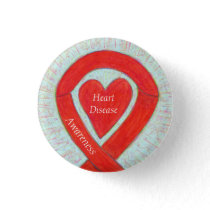 Heart Disease Awareness Red Heart Ribbon Pin