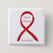 Heart Disease Awareness Red Ribbon Custom Pin