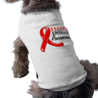 Heart Disease Awareness Ribbon Dog Tee