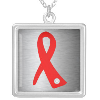 Heart Disease Awareness Ribbon Square Pendant Necklace