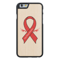 Heart Disease Awareness Ribbon with Wings Carved Maple iPhone 6 Case