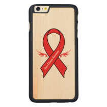 Heart Disease Awareness Ribbon with Wings Carved Maple iPhone 6 Plus Slim Case