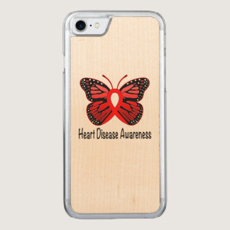 Heart Disease Butterfly Awareness Ribbon Carved iPhone 7 Case