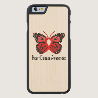 Heart Disease Butterfly Awareness Ribbon Carved Maple iPhone 6 Slim Case