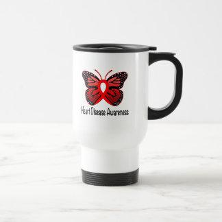 Heart Disease Butterfly Awareness Ribbon Travel Mug