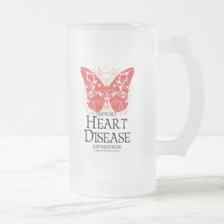 Heart Disease Butterfly Frosted Glass Beer Mug