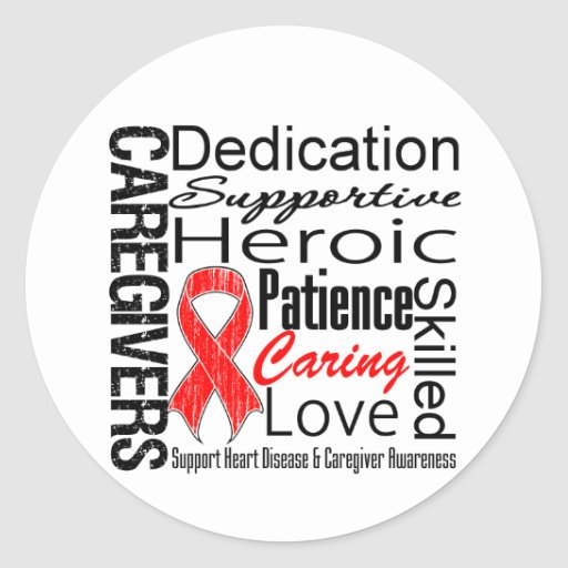 Heart Disease Caregivers Collage Classic Round Sticker
