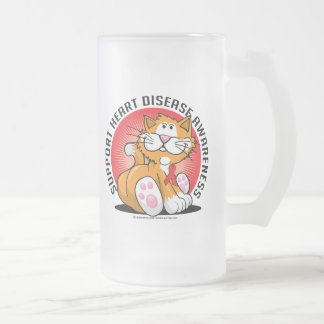 Heart Disease Cat Frosted Glass Beer Mug