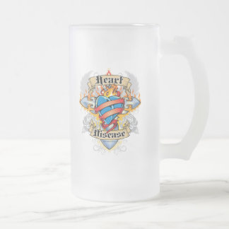 Heart Disease Cross & Heart Frosted Glass Beer Mug