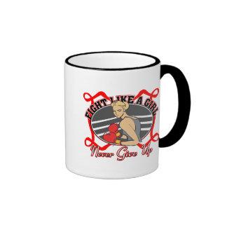 Heart Disease Fight Like A Girl Boxer Ringer Coffee Mug