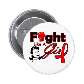 Heart Disease Fight Like A Girl - Retro Girl Pinback Button