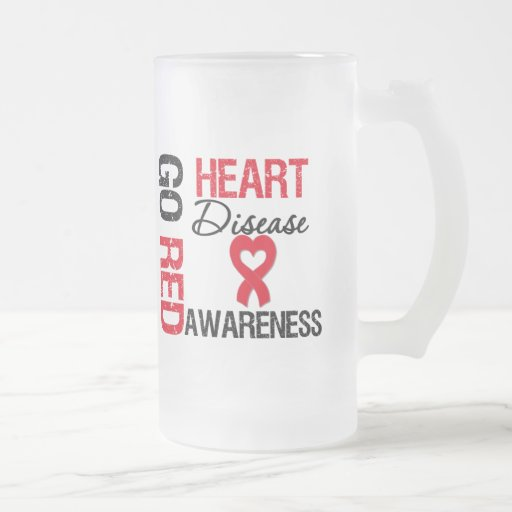 Heart Disease GO RED 16 Oz Frosted Glass Beer Mug