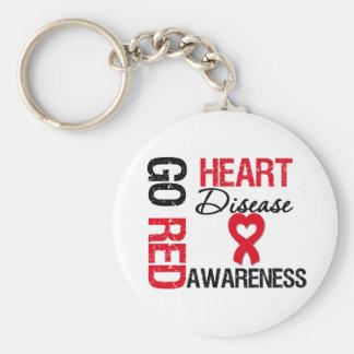 Heart Disease GO RED Basic Round Button Keychain