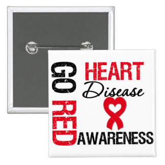 Heart Disease GO RED 2 Inch Square Button