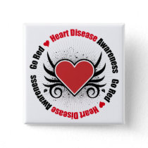 Heart Disease GO RED Pinback Button