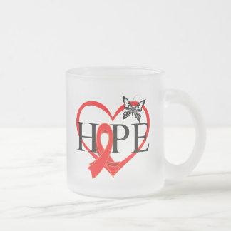 Heart Disease Hope Butterfly Heart Ribbon Decor 10 Oz Frosted Glass Coffee Mug