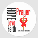 Heart Disease Hope Love Faith Prayer Cross Round Sticker