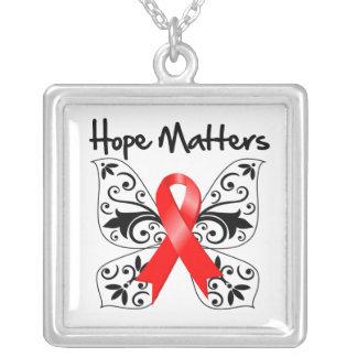Heart Disease Hope Matters Square Pendant Necklace