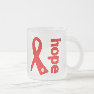 Heart Disease Hope Ribbon 10 Oz Frosted Glass Coffee Mug