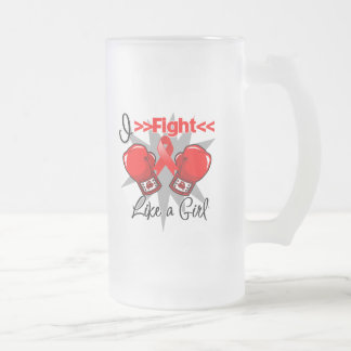 Heart Disease I Fight Like a Girl With Gloves 16 Oz Frosted Glass Beer Mug
