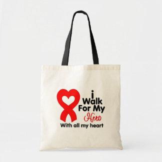 Heart Disease I Walk For My Hero Tote Bags