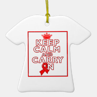 Heart Disease Keep Calm and Carry ON Ornaments