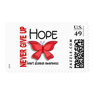 Heart Disease Never Give Up Hope Butterfly 4.1 Postage Stamp