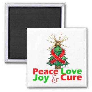 Heart Disease Peace Love Joy Cure 2 Inch Square Magnet