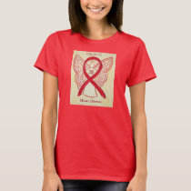 Heart Disease Red Awareness Ribbon Angel Shirt