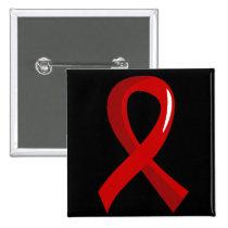 Heart Disease Red Ribbon 3 Pinback Button